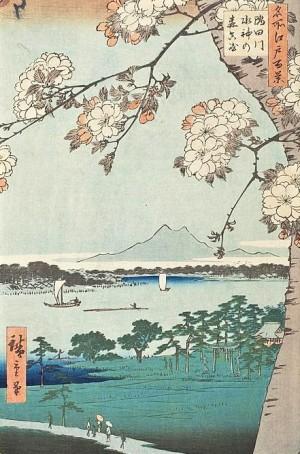 woodblock print Sumida River at the Massaki district by Utagawa Hiroshige
