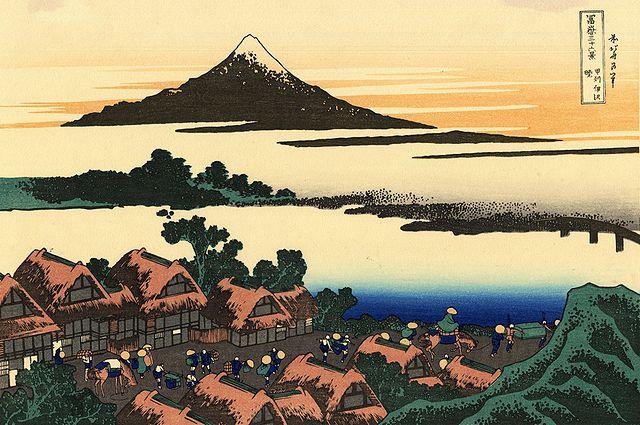 woodblock print by Hokusai -Dawn at Isawa