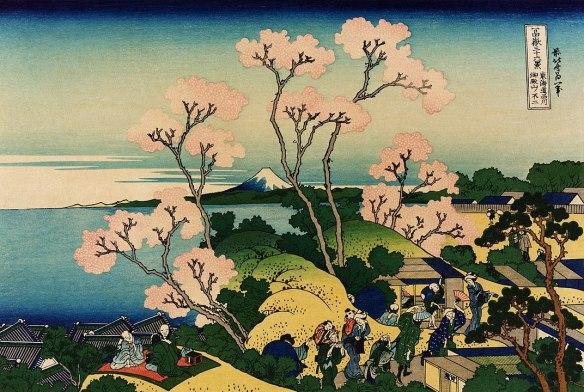 spring landscape with mount fuji by hokusai 36 views of mount fuji
